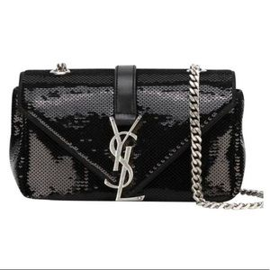 Auth. Saint Laurent Black Sequin Baby Kate Bag